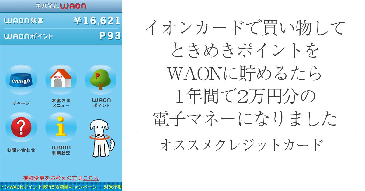 イオンカードを1年間使って2万円分のWAONポイントをGET!