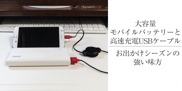 大容量モバイルバッテリー巻き取り式の高速USBケーブルのセット