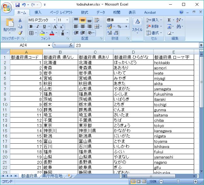 日本地図 都道府県名(漢字) PDF